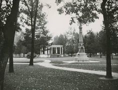 Utah's Present History: Pioneer Park in Provo - Bandstand and Pioneer Monument