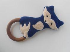 Wool  Wood Blue Fox Baby Rattle Teething by smallwonderwoolies, $14.00