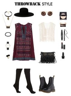 """""""Throwback Style- Boho + Grunge +Dr Martens"""" by indiegopearl ❤ liked on Polyvore featuring moda, Dr. Martens, Neiman Marcus, Off-White, Monki, Vanessa Mooney, Sydney Evan, Daniel Wellington, OPI i Clarins"""
