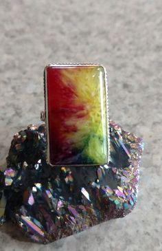 Rainbow Agate Party Ring Size 8 by KarinsForgottenTreas on Etsy