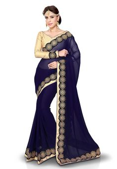 Navy Blue Faux Georgette Saree with Blouse