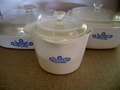 pyrex #pyrex made by Corning  Cornflower range made in 1958, still  available I think ( My grandma had these!)