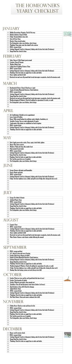 Monthly checklist with suggestions about what to check/clean/replace each month. Helpful reminders!: