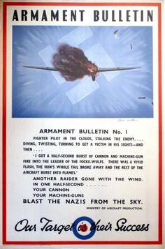 Armament Bulletin WWII Royal Air Force, 1940s - original vintage poster by Owen Miller listed on AntikBar.co.uk