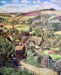 Landscape Drawings, Landscape Illustration, Landscape Art, Landscape Paintings, Illustration Art, Landscapes, Posters Uk, Illustrations And Posters, Farm Paintings