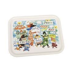 Beautiful white tray with colorful details with beloved characters from Moominvalley. Handmade tray with a classic motif taken from Tove Jansson's original draw