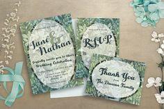 Botanical Wedding Invitation  Wedding by GawkVintageStationer