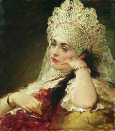 Konstantin Makovsky The Girl In Pearl Necklace 1880-1890