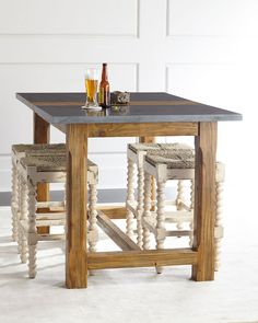 Eton Mist Farmhouse Pub Table & Benbrook Counter Stool