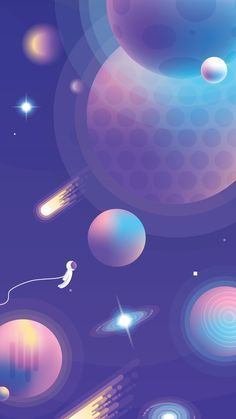 Vibrant Universe Creator - b. - Vibrant Universe Creator Vibrant Universe Creator is a modern colorful, illustrative Space scene generator! Now you can create your own Universe scenes made of abstract planets, galaxies and stars! Planets Wallpaper, Wallpaper Space, Aesthetic Iphone Wallpaper, Galaxy Wallpaper, Wallpaper Backgrounds, Aesthetic Wallpapers, Space Backgrounds, Abstract Illustration, Space Illustration
