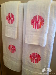 Monogrammed Towels with Lilly Pulitzer Fabric - two sets by memoandmom on Etsy https://www.etsy.com/listing/99696201/monogrammed-towels-with-lilly-pulitzer