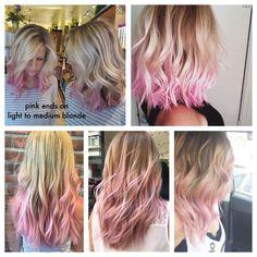 dip dye, fade in, color bleed pink ends on blonde