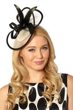 Womens Headband Fascinator Hat Wedding Occasion Races Ladies Day White Black 1e48f7ded767
