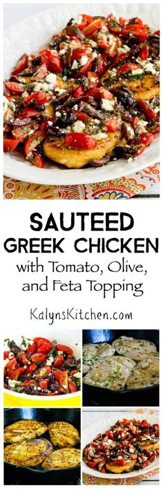 Sauteed Low-Carb Greek Chicken with Tomato, Olive, and Feta Topping found on KalynsKitchen.com