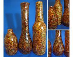 glass bottles, masking tape, shoe polish, shellac