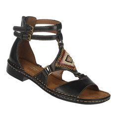 Take a look at this Black Reconnect Leather Gladiator Sandal by Naturalizer on #zulily today!