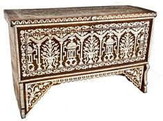 Late 19th Century SYRIAN Inlaid Wood Chest, inlaid with mother of pearl