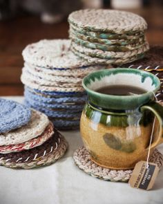 Cute coasters, free pattern from Purl Soho