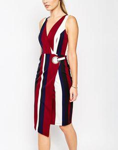 Image 3 ofASOS Wrap Pencil Dress In Bold Stripe Print with Eyelet