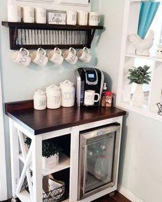 Coffee Bars In Kitchen, Coffee Bar Home, Home Coffee Stations, Coffee Corner, Kitchen Small, Kitchen Corner, Coffee Shop, Coffee Lovers, Coffee Bar Ideas