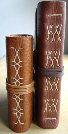 Handmade leather journals by dancing grey studio