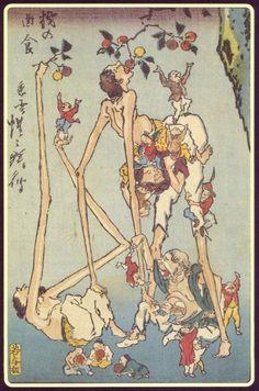 tutshii: 日本各地に伝わる伝説の巨人「手長足長」:カラパイア 柹の曲食 河鍋暁斎(1863-1866)