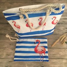 Pink Flamingo Stripe Rope Handle Beach Bag - Just Pink About It - LARGE SELECTION OF PINK FLAMINGO PRODUCTS AND GIFTS.. Everybody loves PINK flamingos. Find PINK flamingo products including flamingo print apparel for women, flamingo print home decor, phone accessories, handbags, and more.