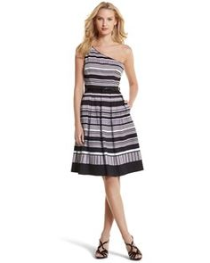 Striped One-Shoulder Sundress - White House | Black Market  I SO want this dress!  Just wish it came in petite.