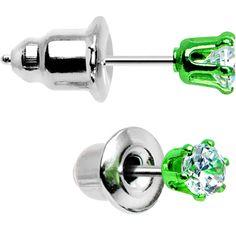 3mm Neon Green Round Clear CZ Stud Earrings  #BodyCandy #Earrings #Trending