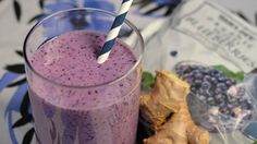 Ginger & Mary Ann Wild Blueberry Smoothie Recipe by Elizabeth Cowie of Taste and Sprout Vegan Smoothie Recipes, Breakfast Smoothie Recipes, Healthy Smoothies, Smoothie Packs, Healthy Carbs, Wild Blueberries, Food Print, Blueberry, Snacks