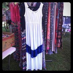 MAXI DRESS  White maxi dress with chevron lace on bottom. Comes in S , M , L , XL Dresses Maxi