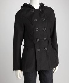 Take a look at this Black Hooded Coat by Style Storm: Women's Coats on @zulily today!