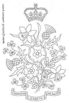 queen elizabeth coronation - embroidery pattern