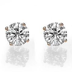 Rose Gold Earrings, Diamond Stud Earrings, 14K Rose Gold Stud Earrings, 1 CT Diamond Earrings, Classic Diamond Studs