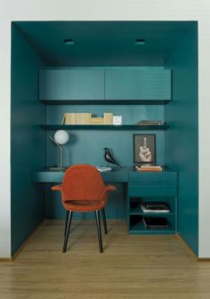 Love the colour scheme - petrol blue with contrasting rust
