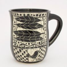 Black And White Etched Mug, Made In California By Ceramic Artist Patricia  Griffin.