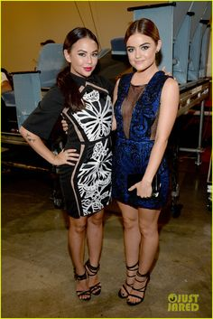 Janel Parrish and Lucy Hale at the Teen Choice Awards 2015