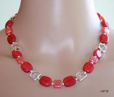 Colliers - Halskette-Glasperlen-Collier-Rot - ein Designerstück von MartinDesign bei DaWanda
