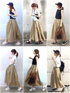 Fashion ideas for casual korean fashion 969 Midi Skirt Outfit Casual, Denim Skirt Outfits, B Fashion, Fall Fashion Outfits, Fashion Dresses, Fashion Ideas, Korean Fashion Trends, Korean Street Fashion, Long Skirt Fashion