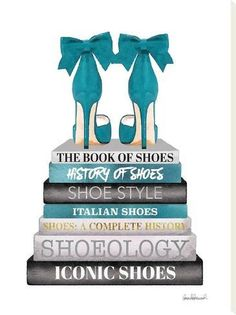 size: Stretched Canvas Print: Teal Bookstack Shoe by Amanda Greenwood : Using advanced technology, we print the image directly onto canvas, stretch it onto support bars, and finish it with hand-painted edges and a protective coating. Framed Artwork, Wall Art Prints, Blue Artwork, Chanel Art, Fashion Wall Art, Fashion Collage, Fashion Wallpaper, Black And White Aesthetic, Art Mural