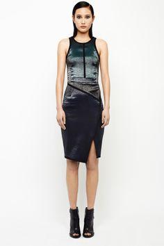 Jonathan Simkhai Fall 14- Angled peplum croc dress