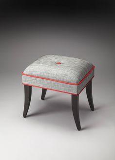 Butler Loft Petra Modern Plyboard Wood Fabric Vanity Stool