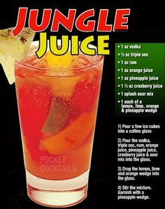 "American soldiers stationed in the South Pacific during WWII were prohibited from bringing in their own liquor. So they creatively sourced materials from the surrounding area to concoct their own alcohol, which became known as ""jungle juice"". Mixed Drinks Alcohol, Party Drinks Alcohol, Liquor Drinks, Alcohol Drink Recipes, Cocktail Drinks, Alcoholic Drinks, Cocktails, Alcoholic Jungle Juice, Tipsy Bartender Jungle Juice"