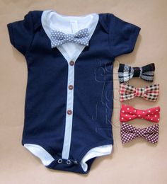 Baby Boy Outfit - Short Sleeve Blue/Gray Cardigan with a onesie & your choice of 1 removable Bow Tie on Etsy, $32.00