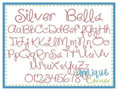 """Silver Bells Embroidery Font These letters come in  .25"""", .50"""", 1"""", 1.5"""", 2"""" sizes"""
