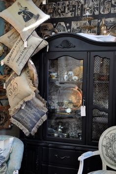 Love this style! Love the black hutch. I've been painting a lot of things in my house black. It's the newest trend. Black Hutch, Patina Style, French Country Decorating, Country French, Shop Till You Drop, Country Furniture, Store Displays, Barn Finds, Black House
