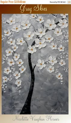 """Sale Original abstract Oil Tree Of Life gallery canvas 36"""" signature palette knife floral impasto painting by Nicolette Vaughan Horner"""