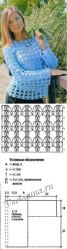 Пуловер крючком «Небесный шоколад» - Пуловеры