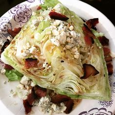 The wedge salad I had on vaca was so good I decided to make one at home. Lettuce, hormone free blue cheese and some Black Forest bacon. Super easy, super yum! #cleaneating #eatrealfood #weightloss #loseweight #healthy #food