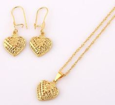 Gold Plated Chain with Heart Shape Pendant and Earrings-Jewelry Set-Gold-online-shopping-sites-store-shop-LeStyleParfait. 24k Gold Chain, 24k Gold Jewelry, Heart Jewelry, Jewelry Sets, Gold Necklace, Women Jewelry, Silver Chains, China Jewelry, Pendant Necklace